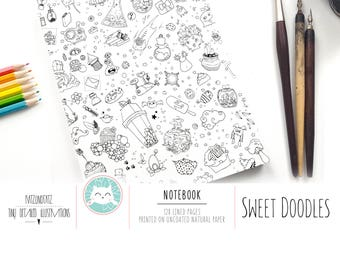 Sweet Doodles NOTEBOOK A5 - Happy Crazy Doodle Day Design - Cute Kawaii Journal - Diary with 128 lined pages - illustrated by Jen Katz