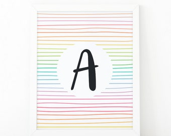 Letter A, typography, Colorful  Stripes, initial Printable, Colors, Nursery Initial Print, Initial Wall Art, initial print, printable letter