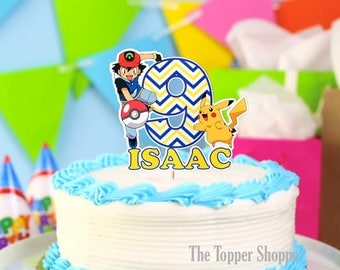 POKEMON Ash Ketchum and Pikachu Customized Cake Topper / Centerpiece / Birthday Party Supplies / Decorations