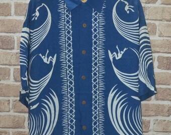 Vintage Mambo Loud Rayon hawaii beach aloha shirt