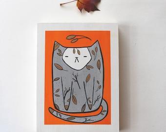 Wood Block Painting - Autumn Kitty