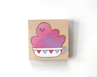 Wood Block Painting - Happy Mug (Pink and Purple)