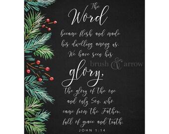 Christmas Bible Quote, John 1:14, instant digital download