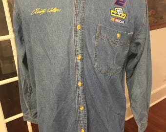 NASCAR Rusty Wallace Denim Long Sleeve Dress Shirt
