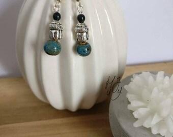 Earrings Buddha, earrings silvercoloured, yoga earrings
