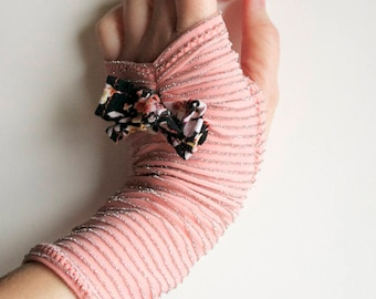Peachy Sheen - Peach and Silver Fingerless Gloves with floral bows - Stretch Hand Warmers - One-of-a-Kind - Handmade in Kansas, USA