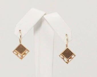 14k Rose Gold Diamond Shaped Open Work Dangle/drop Earrings(01194)