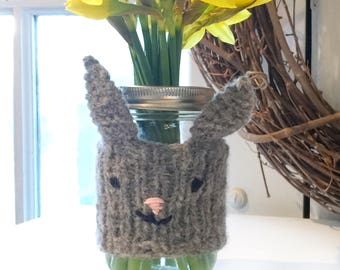 Bunny Cup Cozy, Woodland Coffee Cozy, Bunny Cup Sleeve, Rabbit Travel Mug Sleeve, Bunny Mason Jar Cozy, Animal Tea Cozy, Animal Gift for Her