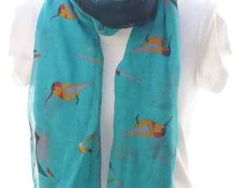 Turquoise bird Scarf shawl, Beach Wrap, Cowl Scarf,cream bird print scarf, cotton scarf, gifts for her