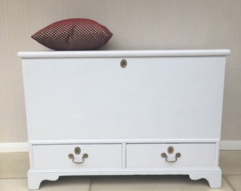 Handsome Hand Painted Antique Blanket Box / Trunk / Ottoman  / Storage Chest 100 miles free delivery