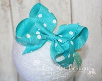 Turquoise Polka Dot Headband, Baby Headbands, Infant Headband, Girls Headbands, Baby Girls Headbands, Boutique Bows, Bowband, Hairband