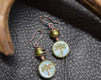 Green Glass and Dragonflies Earrings
