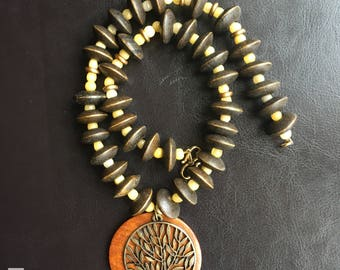 Wooden beads necklace with a striking treet of life pendant -Anya 12