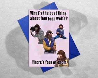 Teenwolf – Funny Birthday Card, Teenwolf Card, Michael J Fox card, Quirky Birthday Card, Funny Greetings Card, Funny card