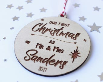 Our First Christmas Ornament - Our First Year - Newlywed Christmas Gift - Our First Christmas Ornament Personalized - Mr & Mrs