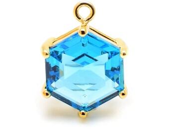 2 Hexagonal Capri Blue Pendant . 22K Gold Plated over Brass Setting. 18mm