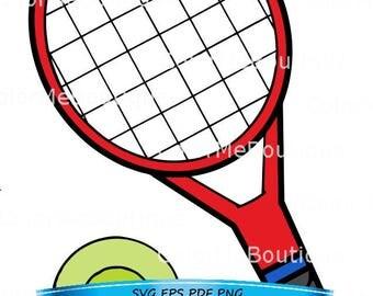red tennis racket etsy rh etsy com Court Tennis Racket Clip Art Court Tennis Racket Clip Art