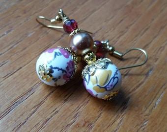 Painted Porcelain Floral Earrings