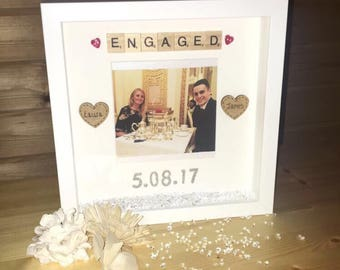 engagement frame engagement gift personalised engagement frame engagement box frame gift for - Engagement Photo Frame