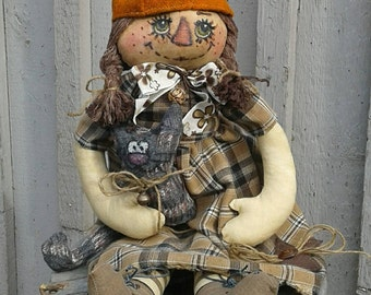 Primitive Rag Doll - Cloth Doll - Primitive Doll - Rag Doll  - Ragged Doll - Handmade Doll - Fabric Doll - Unique Doll - Fall Decor -
