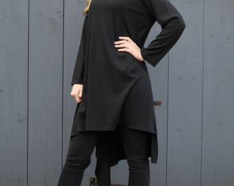Casual Loose Fit Jumper Dress Long Top Asymmetric Style Black