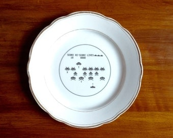 Space Invaders Vintage Dessert Plate