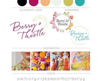Floral Branding Package, Watercolor Flower Logo Design Business Logo Branding Kit, Boutique Events Planner Logo, Modern Blog Branding Design