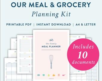 Meal & Grocery Planning Kit Printable Digital PDF File Pack - Weekly Meal Planner Printable - Monthly Meal Planner Printable - Grocery List