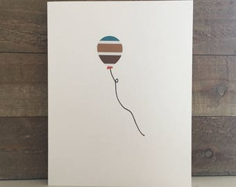 Happy Birthday Card Set / Blue,Brown,Red Striped Balloon / Birthday Greeting Card / Birthday Invitations