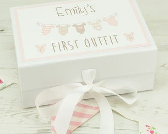 Personalised Baby First Outfit Keepsake Memory Box