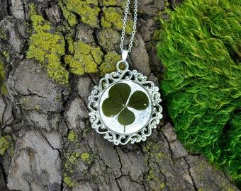 Genuine 4 Leaf Clover Cameo Necklace [BC 001] / Silver Plated / White Clover Pendant / Triforium Repens Clover / Good Luck Charm