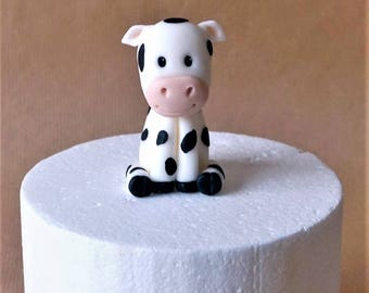 Fondant cow cake topper, fondant farm animals, handmade topper, custom cake decoration, kid birthday, boy topper, girl topper, farm cake