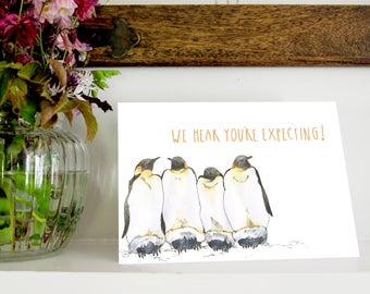 Penguins | A5 Greetings Card | We Hear You're Expecting | Pregnant | Congratulations | New Mum | Snowtap | SECONDS | SALE | DISCOUNT |