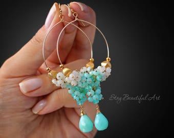 Peruvian Opal Earrings Chandelier Earrings Gemstone Earrings Cluster Earrings Blue Peruvian Earrings  October Birthstone Earrings