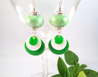 """Silver Earrings """"Green Mint"""""""