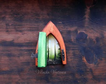 Opening Forest Fairy Door, OOAK Fairy Door, Handmade Fairy Door, Miniature Door with hinges, Unique Gift,  Shelf decor