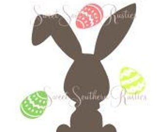 Happy Easter Bunny and Eggs