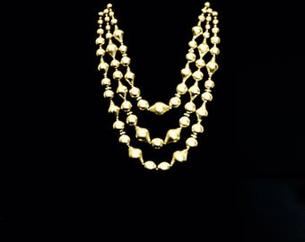 50's 3 Strand Gold Bead and Rhinestone Necklace      GJ2669