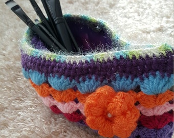 Colorful Purse Pouch Make-Up Bag Portmonee Crochet Handmade