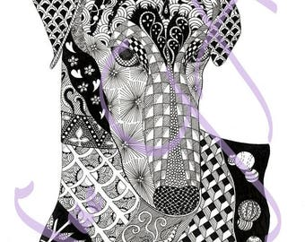 Bolt! Greyhound Whippet Dog Zentangle Art Print