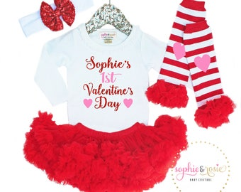 Girls First Valentine's Day Outfit, 1st Valentine's Day Girl, Personalized Valentine's Day Shirt, 1st Valentine's Day Outfit