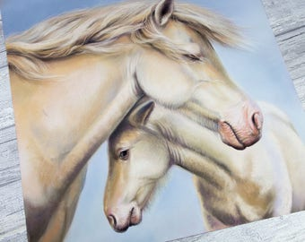 Horse Painting | Pale Horse | Horse Wall Art | ORIGINAL Artwork | Mother & Child|  | Pony | Bedroom Wall Art |