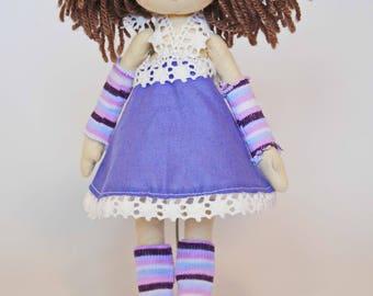handmade doll, curly hair doll, cloth doll, rag doll, peach, gift for a girl, dolls, personalised doll, birthday gift A