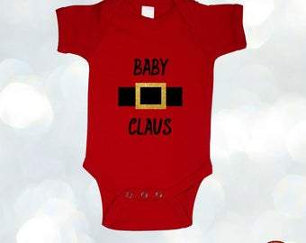 Baby Claus Christmas Bodysuit, Baby Boy or Girl Christmas Outfit Holiday Bodysuit Baby's 1st Christmas Tee