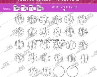 MASTER CIRCLE FONT svg Master circle Script Master circle svg Master circle font Monogram Master circle monogram Font Cricut font 121