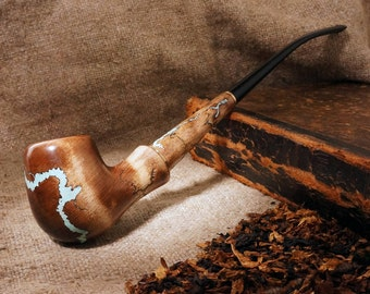 Smoking pipe with Turquoise- Churchwarden Hobbit Long pipe- Tobacco Pipe long stem -Wooden pipe GANDALF -Tobacco bowl -Exclusive Wood Pipe