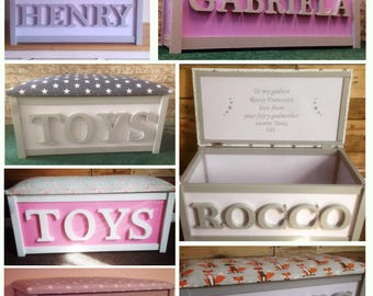FREEUKDELIVERY Personalised,Personalized ToyBox,Toy chest,Toy storage,Fabric,Cushion top,Color,Seat,Toy bench,bedroom,kids decor,christening