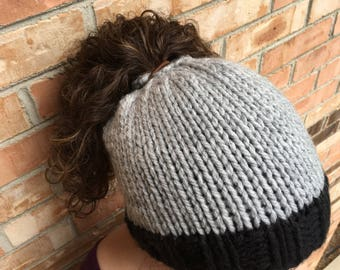 Simple Bun/Ponytail Beanie
