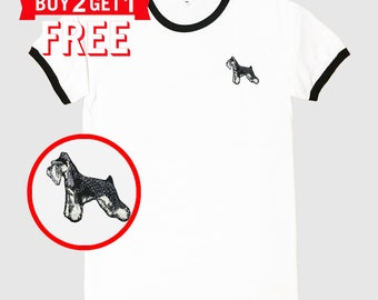 Schnauzer102 Dog Embroidered Ringer T-Shirt by 24PlanetsStudio