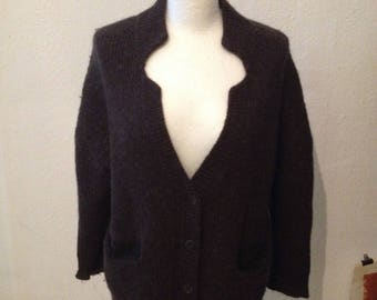 Knit jacket in material mix